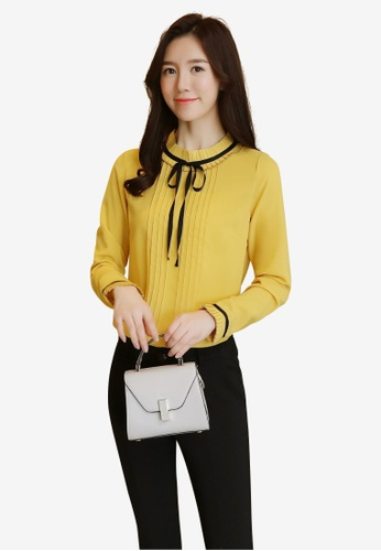 hk-ehunter yellow Draw Cord Neck Pleated Blouse F88A4AA45AA6D8GS_1
