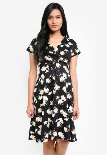Dorothy Perkins black Maternity Black Shirred Wrap Dress A7BEAAAD783706GS_1