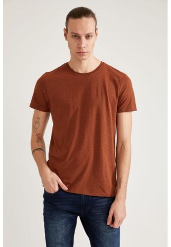 DeFacto orange Short Sleeve Round Neck Basic T-Shirt 6AA63AA7CCAD42GS_1