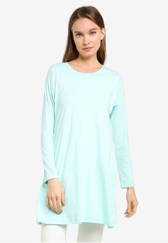 Aqeela Muslimah Wear blue Basic Flare Hem Top ABE48AABF5905CGS_1