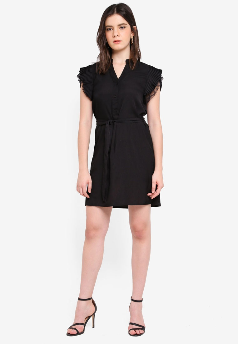 Dress ZALORA Sleeve ZALORA Black Black Pleated Black Dress Pleated Sleeve Pleated Sleeve Pleated ZALORA Dress Sleeve ABRqF