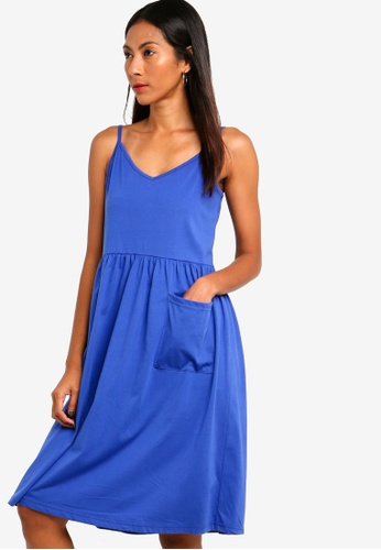 ZALORA BASICS blue Basic Midi Cami Dress With Pocket 32C63AA76E9AA4GS_1