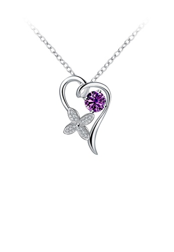 Glamorousky purple Fashion Elegant Heart-shaped Four-leafed Clover Pendant with Purple Cubic Zircon and Necklace 9D200ACEE6E21BGS_1
