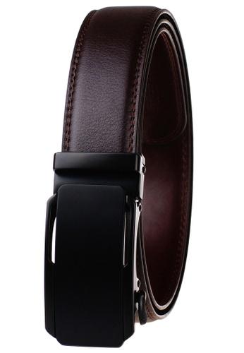 FANYU brown Leather Dress Belt With Automatic Buckle belt 2D9D8ACEC08F58GS_1