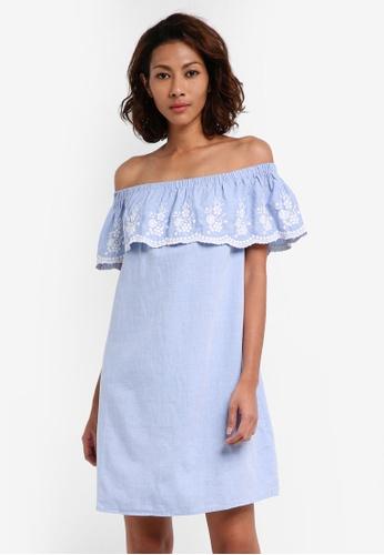 Dorothy Perkins blue Chambray Emroidered Bardot Dress 34C92AA114EA52GS_1