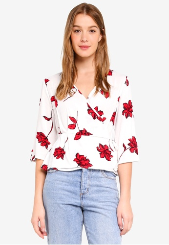 Cotton On red Ruth Peplum Wrap Blouse B3CCDAA69D6365GS_1