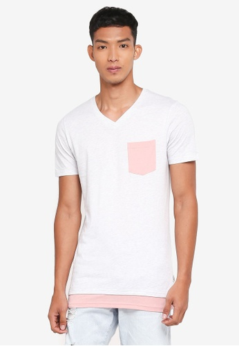 Jack & Jones 白色 短袖撞色口袋T恤 68C3FAA5915105GS_1