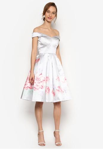 Chi Chi Camilla 花卉印花露肩esprit專櫃洋裝, 服飾, 洋裝