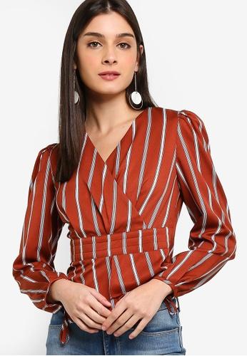 ZALORA 紅色 褶飾條紋上衣 9F7DDAA18E9E36GS_1