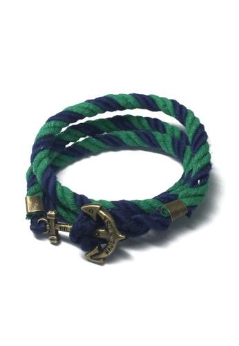 Splice Cufflinks green and blue Kedge Series Navy Blue and Green thick Nylon Strap Brass Anchor Bracelet SP744AC62XIZSG_1
