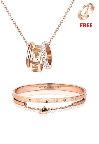 CELOVIS gold CELOVIS - Faith Tri-Rings Necklace paired with Keira Bangle Jewellery Set in Rose Gold F641BACE4F399AGS_1