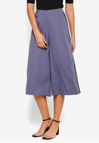 ZALORA blue Side Stripe Culottes CA8EBAA74F5AFEGS_1