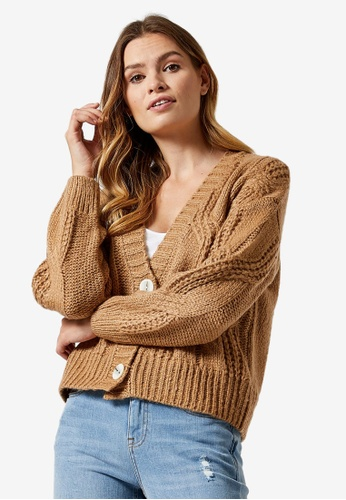 Dorothy Perkins brown Camel Cable Knit Cardigan 17702AA42F4B87GS_1
