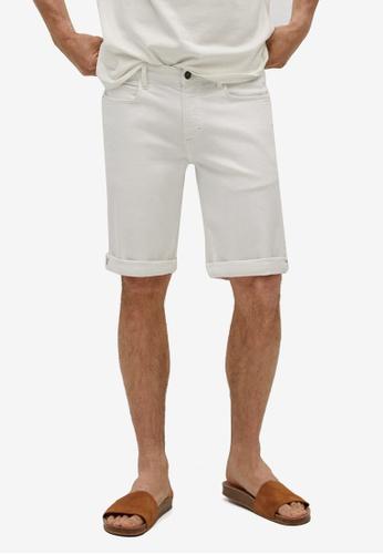MANGO Man white Stretch Cotton Denim Shorts 9BF6FAA8911F0CGS_1