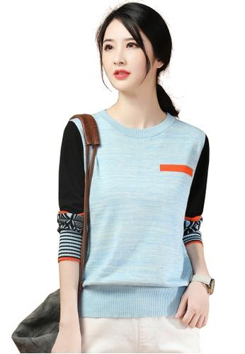 A-IN GIRLS blue Ethnic Striped Sweater 81FC3AA6CBB799GS_1