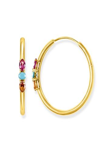 "THOMAS SABO gold hoop earrings ""Royalty Colourful Stones"" CB8AAAC291328AGS_1"