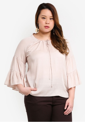Ex'otico beige Plus Size Flare Sleeve Round Neck Blouse C0BBAAA825D15BGS_1