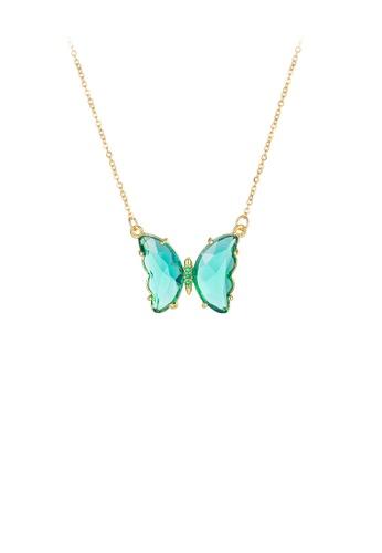 Glamorousky 綠色 時尚優雅鍍金色綠色蝴蝶鋯石316L鋼吊墜配項鏈 BE69DAC5205FB0GS_1