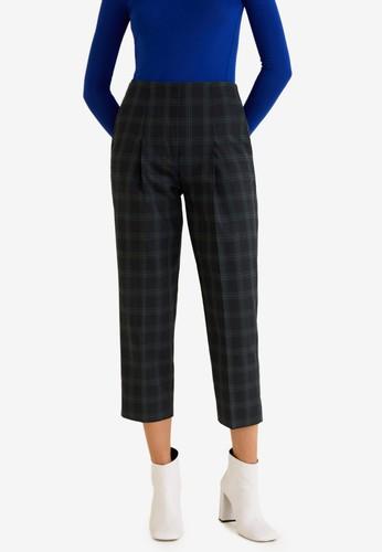 MANGO blue and navy Check Cotton Trousers E591AAA1043DE9GS_1