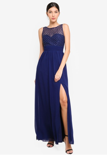 Little Mistress navy Navy Pearl And Lace Maxi Dress 7135CAA3AB9B00GS_1
