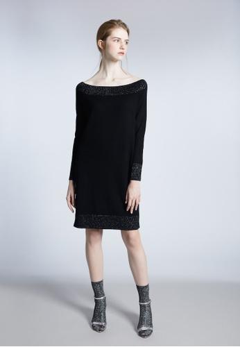 KLAPS black Off Shoulder  Neckline Mini Dress FD417AA8B38095GS_1