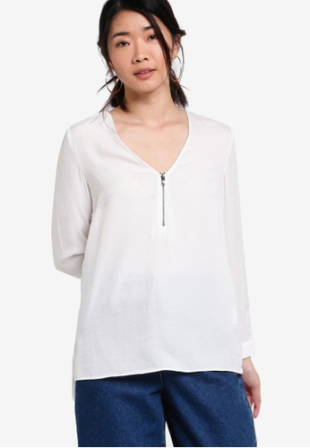 ZALORA white Collection Front Zip Blouse B9A16AA5131924GS_1