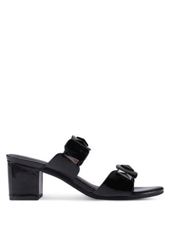 bdd627e0a78 prettyFIT black Geometric Block Heel Sandals 33858SHDD159E9GS 1