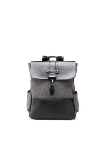Lara black and grey Men's Front Flap Backpack 96B33AC212E46DGS_1