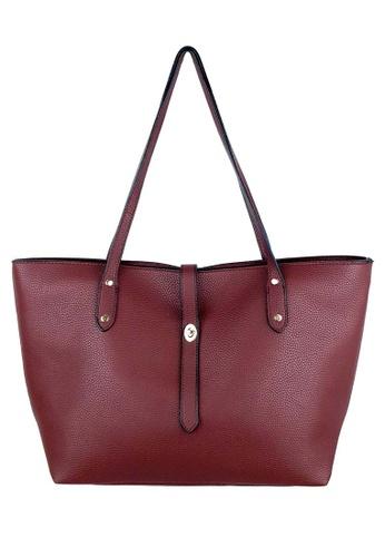 BELLE LIZ red Minimalist Ladies PU Tote Bag Wine Red 04142ACA761B85GS_1