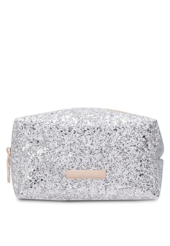 Velvet silver Glitter Make Up Bag 753E2ZZ3514AB2GS_1