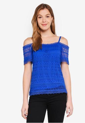Dorothy Perkins 藍色 Cobalt Lace Cold Shoulder Top 59F3CAAB678EDEGS_1