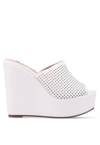 Nose 白色 Casual Wedge Heel Slides 9517FSHB323C17GS_1