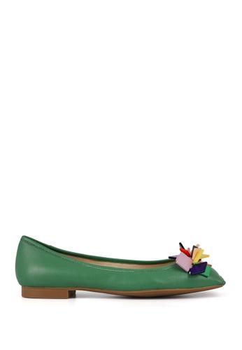 Miomia 綠色 膠片方頭平底鞋 8CBD0SHE212EC4GS_1