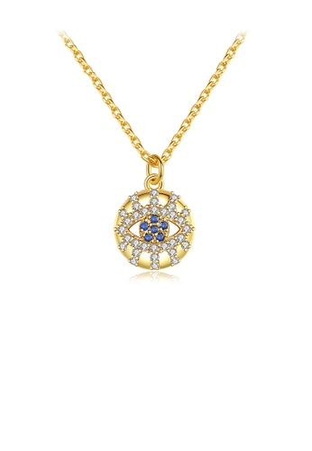 Glamorousky white Fashion Creative Plated Gold Eye Geometric Round Pendant with Cubic Zirconia and Necklace 0A2B9AC6ECCC82GS_1