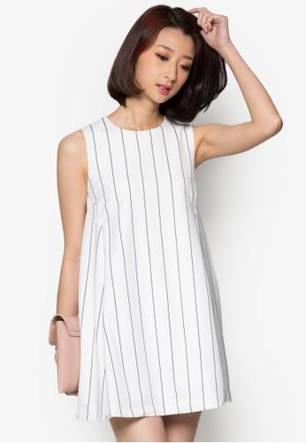 直條紋寬擺連身裙, 服esprit香港門市飾, 洋裝