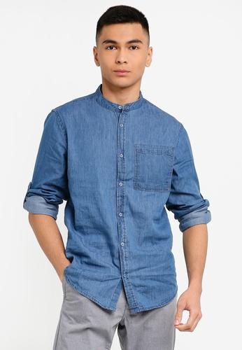 OVS 藍色 Men's 休閒長袖襯衫 58865AA2A97F4BGS_1