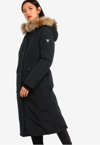 36400764c Guess Plain Hooded Long Down Jacket
