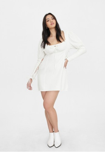 Pomelo white Sustainable Juliet Sleeve Dress - White 998BCAAA0F8D21GS_1