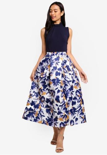 CLOSET navy Closet Gold Full Skirt Dress ADD01AABD03129GS_1