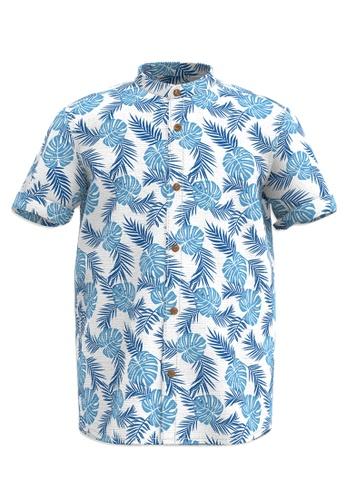 LC Waikiki blue Boy's Figured Poplin Shirt CE34BKA4795676GS_1