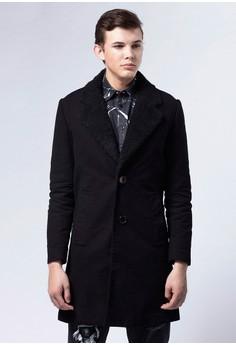 Life8 x Daniel Wong。經典羔羊毛大衣-03674-黑色