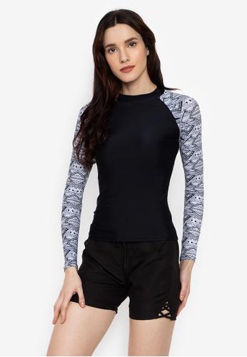 Sassa black Long Sleeves Rashguard EAA14US7759612GS_1
