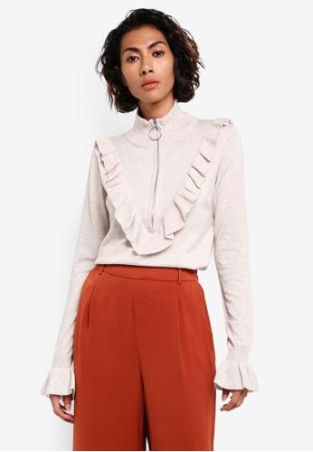 Mango grey Ruffle Zip Sweater MA193AA0RMJ8MY_1