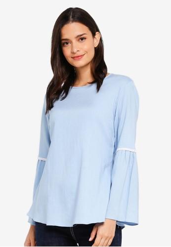 Aqeela Muslimah Wear blue Lace Bell Sleeve Top 9932AAAE50AE18GS_1