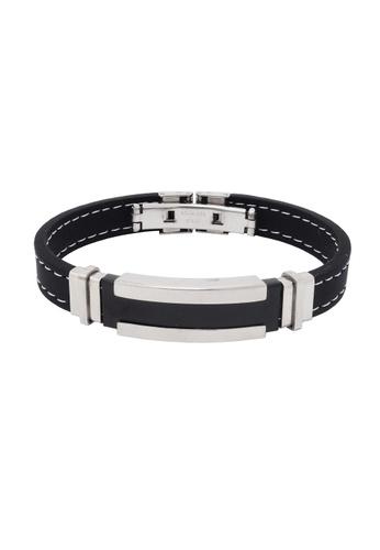 Jaysa Collection black Stainless Steel-Black Buckle Bracelet with Soft Silicon Strap JA875AC24NVRSG_1