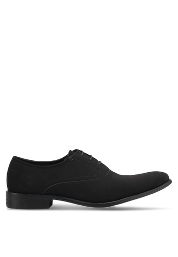 ZALORA black Faux Suede Leather Oxford Shoes F1869SH53A612BGS_1