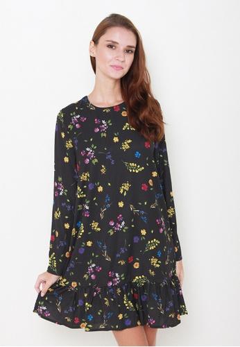 Leline Style black Fion Floral Dress LE802AA21PYGSG_1