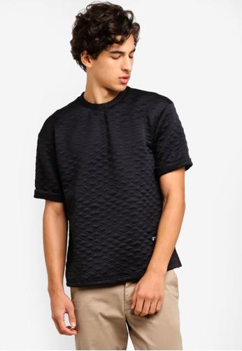 UniqTee 黑色 Diagonal 紋理Oversized 短袖T恤 C30A1AAB828220GS_1