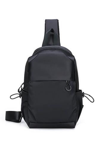 Lara black Men's Fashionable Capacious Nylon Zipper Chest Bag - Black A1306AC1246D54GS_1