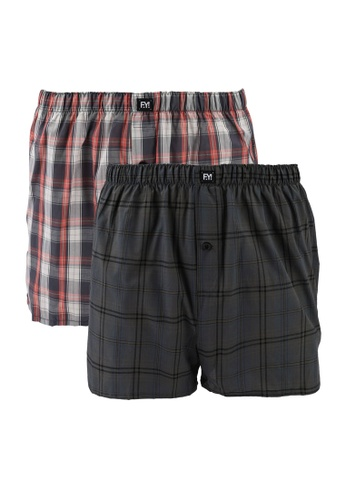 UniqTee multi 2 Packs Checked Men's Boxers with Button 822E9USDD51D9DGS_1